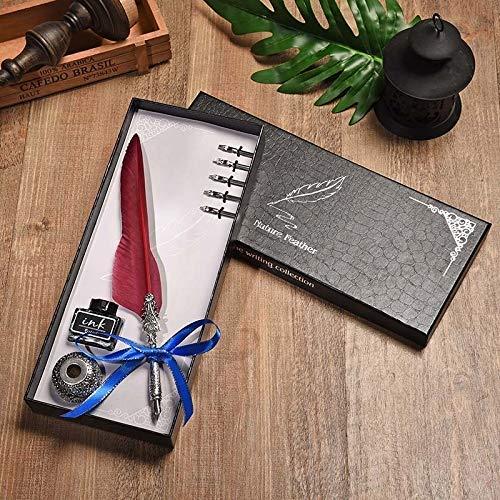 DHTOMC Pluma estilográfica de gama alta con plumas, regalo creativo de cumpleaños, diseño de hojas de arce, juego de pluma estilográfica, material de escritura LCMUS (color: rojo vino, tamaño: gratis)