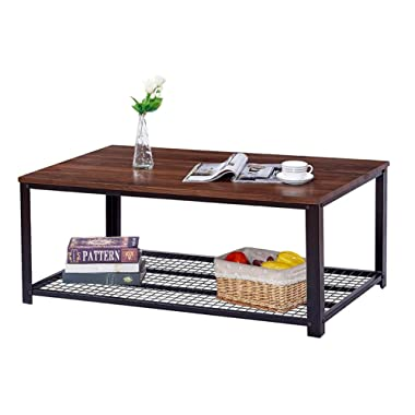 Trustiwood Vintage Industrial Coffee Table, Cocktail Table with Storage Shelf for Living Room, Stable Metal Frame Furniture, Easy Assembly, Dark Walnut