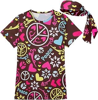 222b5092428e4 COSAVOROCK Damen 60er 70er Jahre Hippie Flower Power Kostüm T-Shirts mit  Stirnbänder