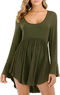 Womens Casual Tunic Tops Long Sleeve Scoop Neck T Shirt Flowy Hem Blouse