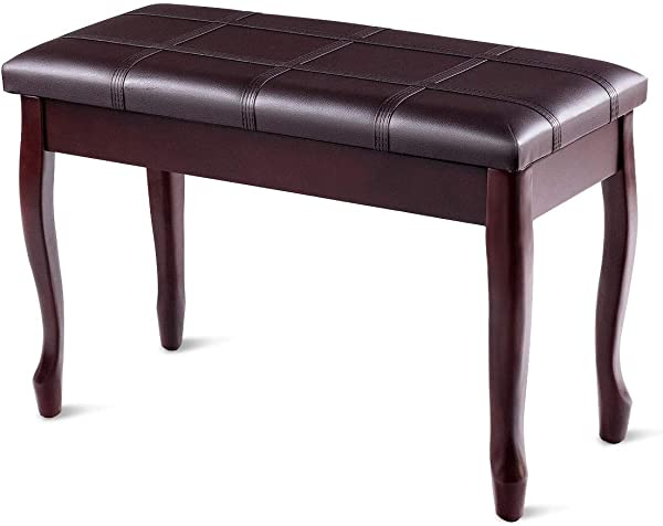 Dayanaprincess Solid Wood PU Leather Piano Bench With Storage Sturdy And Durable Construction Comfortable Soft Seat Living Room Hall Useful Modern Furniture Chair Brown