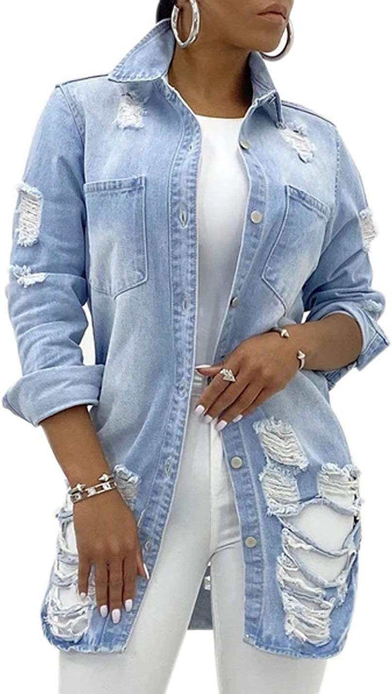 UANEO Womens Denim Ripped Distressed Button Down Mid Long Casual Jean Jackets