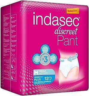 Indasec - Ropa interior absorbente, talla media, absorción plus, 12 pants