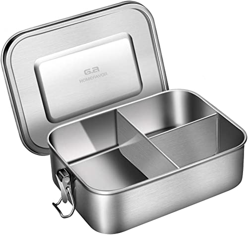 new arrival Leak Proof Stainless Steel Bento Box, G.a HOMEFAVOR Metal Lunch Container with 3-Compartment, 1200ML, Perfect for Snacks and Salad, online new arrival Dishwasher Safe online sale