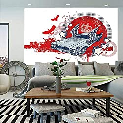 SoSung Retro Wall Mural,Abstract Illustration Hand Drawn Winged Crowned Vintage Style Car Birds and Stars,Self-Adhesive Large Wallpaper for Home Decor 83x120 inches,Red Baby Blue