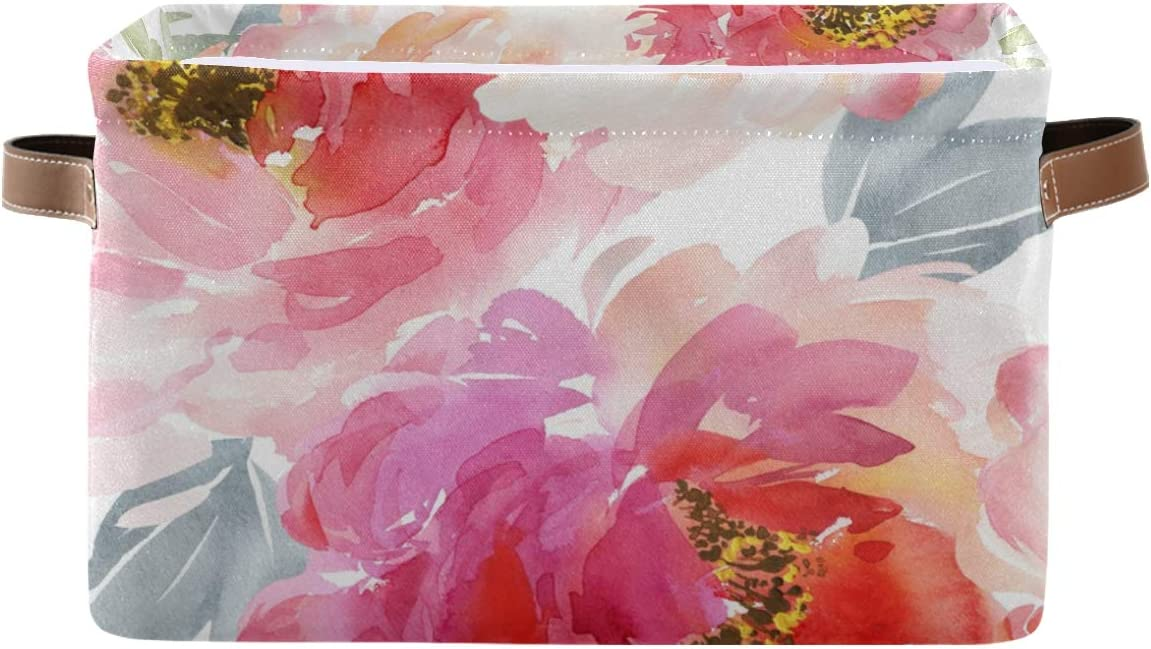 Toprint Watercolor Flowers security Storage Basket Max 77% OFF Toys Bin Fabric Large