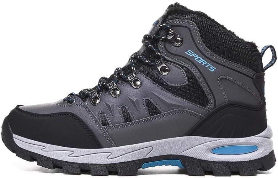 Men Women Winter Mountain Hiking Waterproof Outdoor Sneakers Plush Walking Trekking Hunting Shoes (Color : Grey, Size : 10)