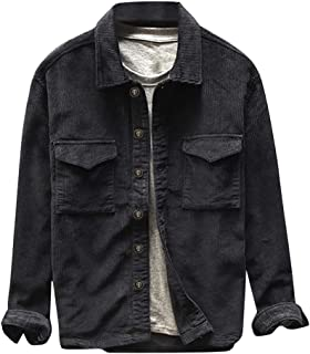 Landscap Mens Fashion Shirt Jacket Casual Long Sleeve Solid Corduroy-Tops Vintage Button-Front Slim Fit Jacket