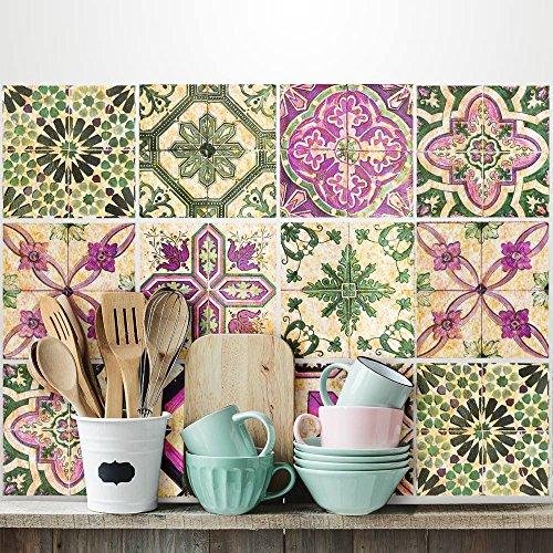 (24 Piezas) Pegatinas para Azulejos tamaño 10x10 cm PS00061 Adhesivo de Vinilo Decorativo para Azulejos de baño y Cocina