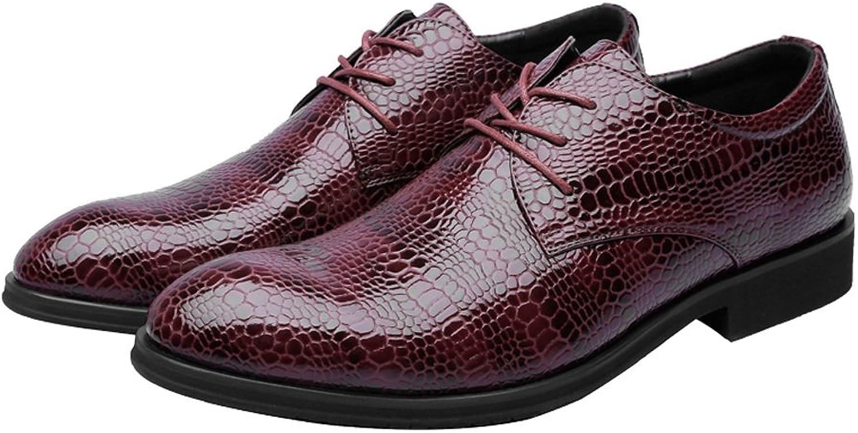 JUJIANFU-Bequeme JUJIANFU-Bequeme JUJIANFU-Bequeme Schuhe Herrenmode PU-Lederschuhe Krokodilhautbeschaffenheit Obere Schnürung Atmungsaktiv Business Gefütterte Oxfords 083756