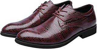 Men's Shoes-Men's PU Leather Shoes Crocodile Skin Texture Upper Lace Up Breathable Business Lined Oxfords Leisure (Color : Wine, Size : 42 EU)
