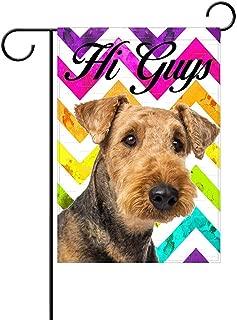 AnleyGardeflagsU Airedale Terrier Hi Guys Garden Flag, Custom Holiday Celebrate Garden Decor Flag,12