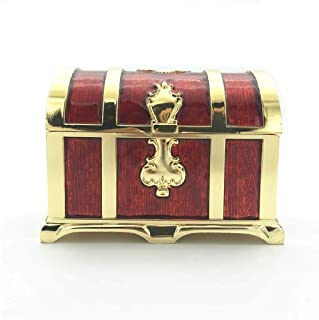 Truewon Large DND Metal Dice Box,Can accommodate 5 Sets (D4, D6, D8, 2D10, D12, D20) Standard RPG Dice, Vintage Ring Jewelry Box, Pirate Treasure Chest, Watch Storage, Collectible Tray (Red)