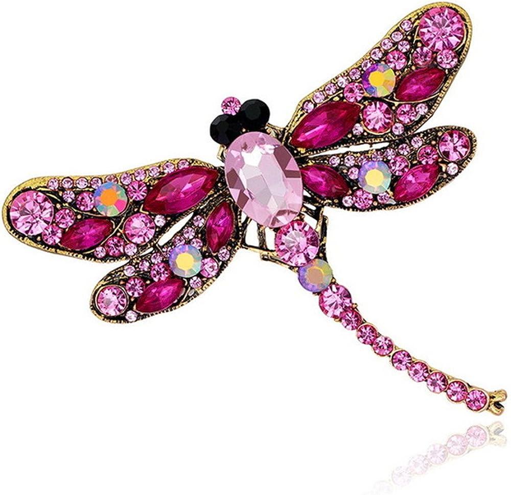 DWR Women Brooches,Vintage Rhinestone Dragonfly Brooches Pins Shawl Scraf Clip