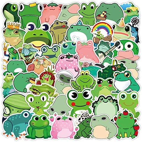 50 Pcs Frog Stickers  Frog Waterproof Vinyl Stickers for Water Bottles Laptop Refrigerator Luggage Computer Mobile Phone Skateboard Decals