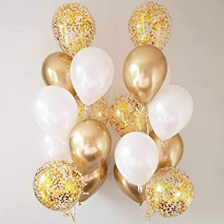 Metallic White and Gold Balloon Gold Confetti Balloons 12 inch - Balloons with Confetti Inside Pack of 50 Party Kit for Golden Baby Shower Bachelor Party Birthday Wedding Bridal Shower Decorations