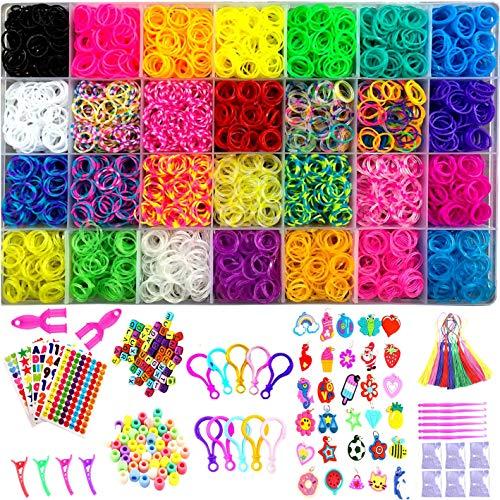 YITOHOP 12000+ Colorful Loom Bands Set , Premium Rubber Bands for Bracelet Making Kit DIY Band Bracelet Mega Refill Kit Girls Gift to Improve Imagination