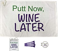 Giggle Golf Par 3 - Putt Now Wine Later Towel, Tee Bag and Bling Ball Marker with Hat Clip – Perfect Golf Gift for Women