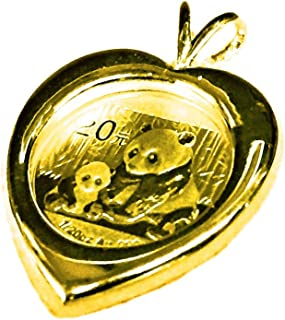 24K Chinese Panda Bear Coin in 14K Solid Yellow Gold Heart Coin Charm Pendant-Random Year Coin