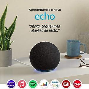 Novo Echo (4ª Geração): Com som premium, hub de casa inteligente e Alexa - Cor Preta