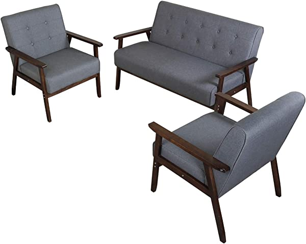 JIASTING Mid Century 1 Loveseat Sofa And 2 Accent Chairs Set Modern Wood Arm Couch And Chair Living Room Furniture Sets 8428 Grey Set