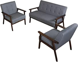 JIASTING Mid Century 1 Loveseat Sofa and 2 Accent Chairs Set Modern Wood Arm Couch and Chair Living Room Furniture Sets (8...