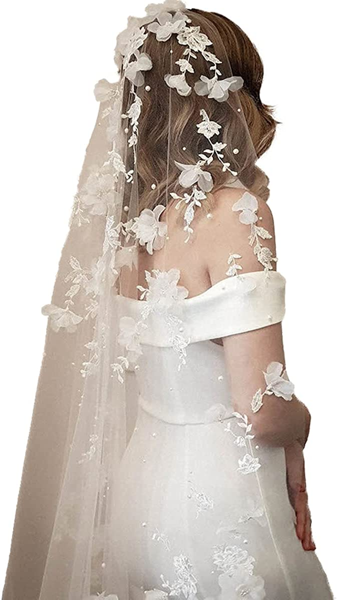 Bridal Veil Cathedral 1T Lace Veil Flower Pattern Women's Veil for Wedding with Comb