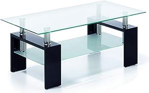 Due-home Mesa Centro Moderna de Cristal, Patas lacadas Color Negro, Medidas 110x60x45 de Altura