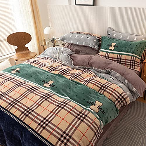 Exlcellexngce Funda De EdredóN 150,法兰绒冬季床上用品双面加厚天鹅绒被套儿童单双人大号床单枕套4件-Kk_1,8 M De Cama (4pcs)