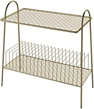 C-J-Xin Metal Bookshelf, Double Layer Wrought Iron Storage Rack for Hotels Bathroom Office Living Room Magazine Rack Livin...