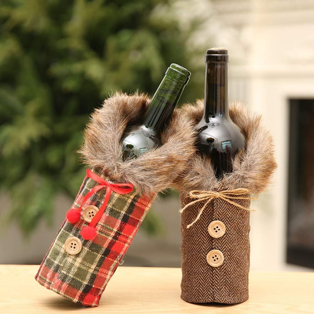 AH&Y 2 Juegos de Bolsas de Tapa de Botella de Vino de Navidad Bolsa de Regalo de Vino Decoración Linda de Navidad Vestido de Botella de Vino de Claus Bolsa de Tapa