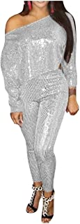 Comaba Women's Oblique Sequin Stylish Long Sleeve Two Piece Sweatsuit Set