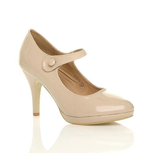 b2f1d916c Ajvani Womens Ladies mid high Heel Mary Jane Evening Work Platform Court  Shoes