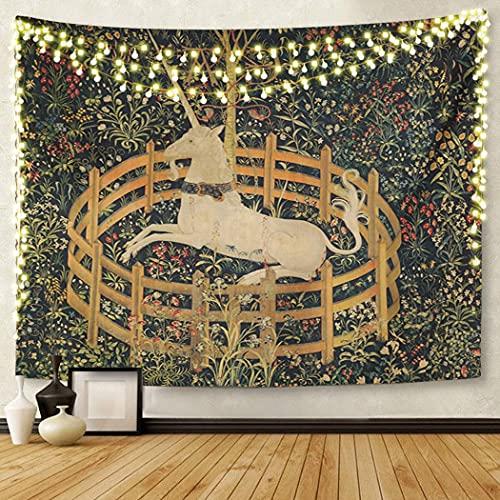 Tapiz de arte para colgar en la pared medieval vintage de caza unicornio cautiverio él ella 156 x 202 cm decoración del hogar Tapices colchón mantel cortina impresión