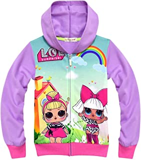 zaring Girls Zip Hoodie Sweatshirt Children Coat Cartoon Jacket Outwear Doll Surprise