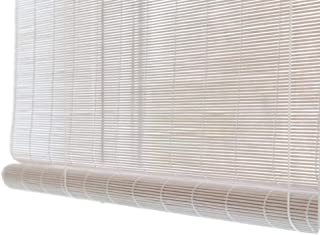 Jcnfa-Roller Shades Natural Shade Roller Blinds/Bamboo Roller Blinds Indoor/Outdoor, Roll Up Sun Shades, Window/Balcony/Patio Deck, White (Color : White, Size : W 105H 140cm)