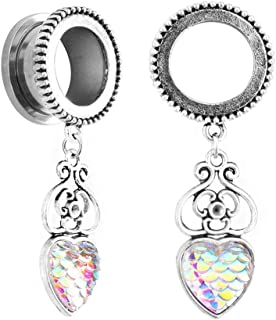 Pair of Dynamique Heart with Flowers /& Ladybug Top 316L Surgical Steel Screw Fit Flesh Tunnels