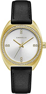 Caravelle Women's Crystal Watch with Black Leather Strap - 44L249