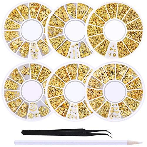 WOKOTO 6 Boxes Gold Metal Nail Studs...