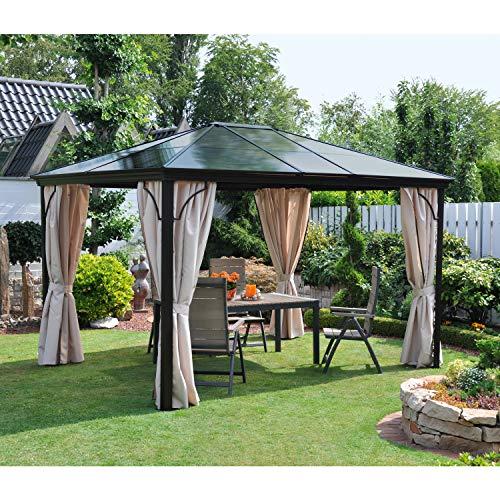Komplett-Set Polycarbonat-Stegplatten für Dach von Profi-Pavillon Light (13940114),grau/braun,3,0 x 3,6 m