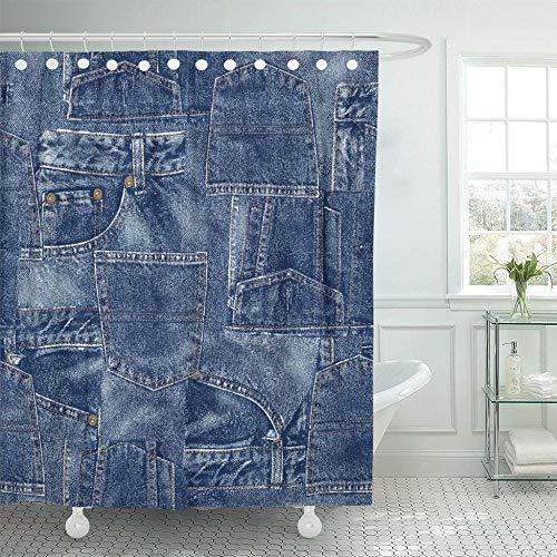 KUKUALE 1 Pieza Jeans Denim Material Patchwork Real Seems Cortina de Ducha Impermeable Conjunto de Tela de poliéster con Ganchos 180X180Cm (71X71In)