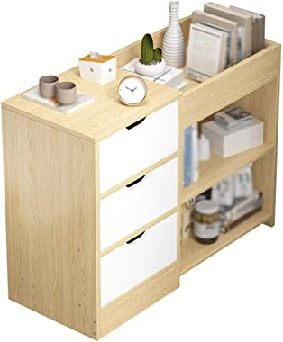 Bedside Cabinet Nightstand Heightened Base 3-Drawers Home Bedroom Storage Locker 74X30X57CM Side Table