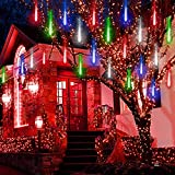 Purtuemy Meteor Shower Lights Christmas Lights Outdoor 12 inch 8 Tubes LED Falling Rain Drop Lights Icicle String Lights for Tree Garden Wedding Party Holiday Decor, Multi Color