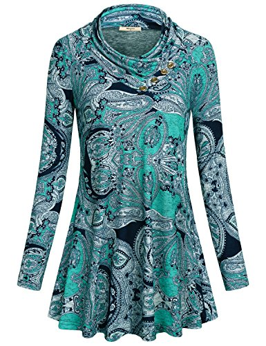 Miusey Womens Blouses and Tops for Work, Ladies Button Cowl Neck Sweater Petite Vintage Swing Tshirt Autumn Clothing Knit Pleat Fitted Dressy Tunic for Work with Flare Hem Paisley Blue S