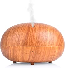 ap airpleasure Wood Surface 400ml Ultrasonic Quiet Humidifier Essential Oil Diffuser 10 Hours Adjustable Mist Mode Vaporizer Waterless Auto Shut-off for Bedroom, Living Room, Spa, Yoga (DarkYellow)