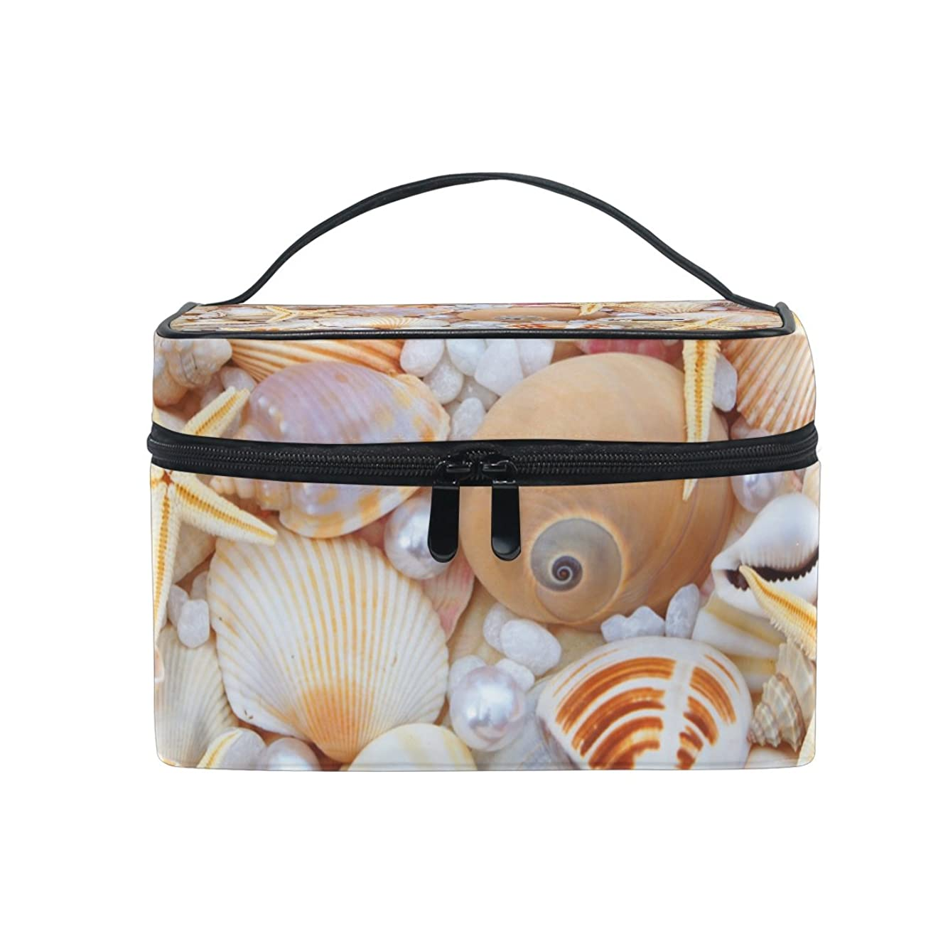 KUWT Starfish Seashell and Pearl Women Travel Cosmetic Bag Portable Makeup Train Case Toiletry Bag Beauty Organizer