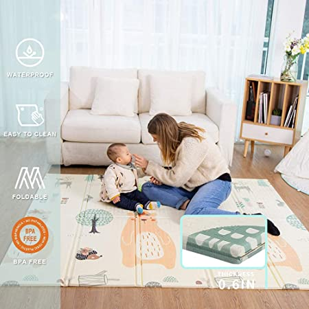 Baby Play mat, playmat, Baby mat Folding Extra Large Thick Foam Crawling playmats Reversible Waterproof Portable playmat for Babies (Bear)