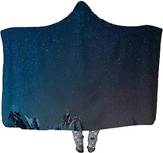 CUDEVS Mt Everest Summit Stars Shining Over Himalaya Mountain Peaks Panorama Wearable Blanket,Microfiber Fleece Soft Warm Winter Novelty Wearable Blanket,044425,60''W x 50''H