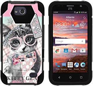 TurtleArmor | Compatible with ZTE Majesty Pro Case | ZTE Majesty Pro Plus Case [Dynamic Shell] Hard Hybrid Kickstand Silicone Impact Cover Protection Girls - Hipster Cat