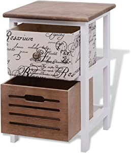 Anself Bedside Unit Pair Bedside Table Cabinet 2 Drawers Wood